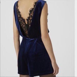Topshop blue velvet black lace romper size 4